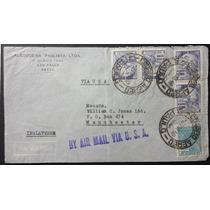 Brasil 1940 - Carta Circulada Para Inglaterra Com Selos Vovó