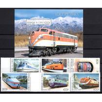 Serie Completa Trens Locomotivas 5 Valores + Bloco Novo
