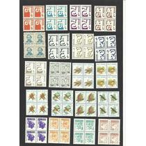L608- Brasil- Coleção Com 93 Quadras De Selos Regulares Mint