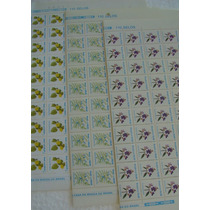3 Folhas 330 Selos Rhm Vale R$ 250,00 Vejam Fotos Flores (b)
