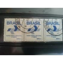 Brasil Rbr0013 Trinca De Selos Tarifa 1°porte Série A
