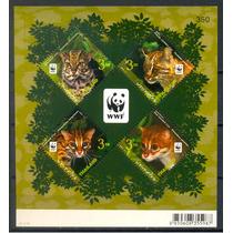 Ms6955* Thailândia, Bloco Com Tema Fauna, Felinos, Wwf
