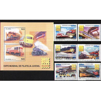 Cuba 2006 - Expo Filatélica Bélgica Trens 6 Selos + 1 Bloco