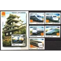 Cuba 2001. Trens Japoneses. 5 Selos + 1 Bloco