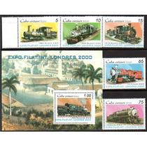 Cuba 2000. Expo Filatélica Londres. Trens. 5 Selos + 1 Bloco