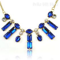 Maxi Max Colar Dourado Pedras Azul Cristal Azul Barato Bic