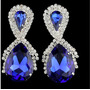 Brinco De Strass Pedra Azul Festa Noiva Debutante