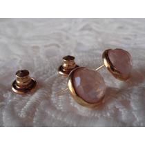 Brinco Redondo Banho Ouro 18k-com Pedra Natural Quartzo Rosa