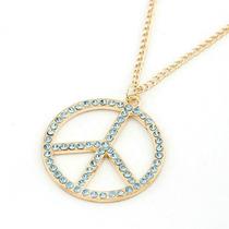 Colar Cordão Pingente Gargantilha Símbolo Paz Peace Azul