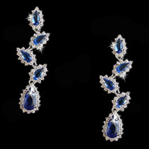 Brinco Feminino Luxo C/ Swarovski + Pedras Zircônia Azuis