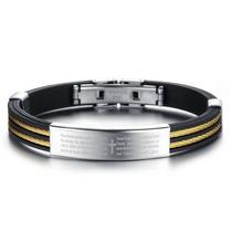 Pulseira Bracelete Masculina Aço 316l Pai Nosso