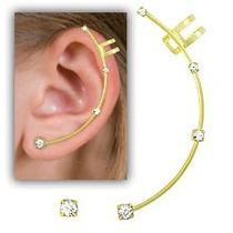 Brinco Ear Cuff Folheado A Ouro Contendo 4 Pedras De Strass