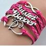 Pulseira Bracelete Múltiplo - Justin Bieber - Rosa Escuro