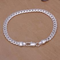 Bracelete Pulseira Prata 925 Feminino Cobra 20cm