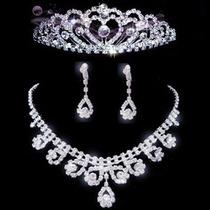 Tiara,colar,brincos De Strass Para Noivas