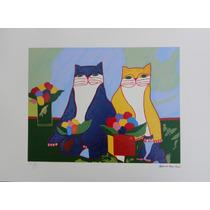Aldemir Martins - Família De Gatos - Serigrafia Maravilhosa!