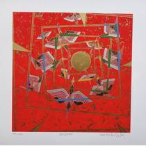 Wakabayashi - Serigrafia C/ Relevos - Origami (pássaros)