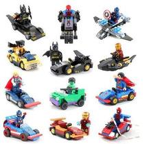 Super Heroes 4 Minifiguras + 4 Carros Compatível Lego
