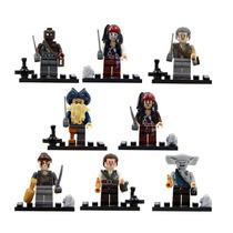 Kit 8 Bonecos Piratas Do Caribe Jack Sparrow - Tipo Lego
