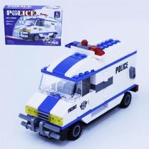 Bloco De Montar (194pcs) 22x15cm Police Caminhao Compt. Lego