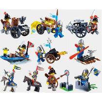 Kit 10 Minifiguras Cavaleiros Medieval - Compatível Com Lego