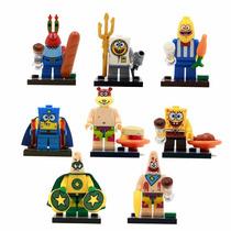 Kit 8 Bonecos: Bob Esponja - Similar Lego - Ponta Entrega!