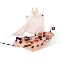 Navio Pirata Brinquedo De Madeira Kitopeq.