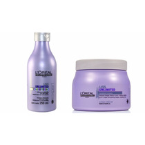 Shampoo Loreal Liss Unlimited 250ml + Mascara Liss 500ml
