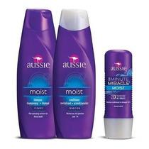 Kit Aussie Shampoo + Condicionador Moist Milagre 3 Minutos