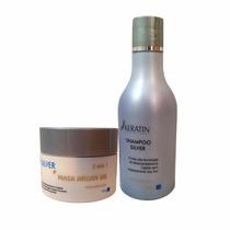 Kit Shampoo E Máscara Desamareladora Keratin Silver Protect