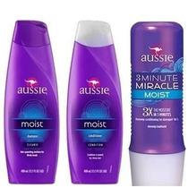 Kit Aussie Moist Shampoo + Condicionador + 3 Minute Miracle
