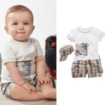 Conjunto Azul Menino Camiseta Shorts Boné Xadrez 1 A 3 Anos