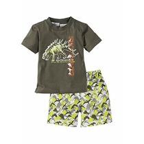 Conjunto Shorts Camiseta Dinossauro 1 A 5 Anos Frete Grátis