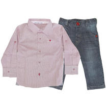 Camisa Infantil Xadrez E Calça Jeans Gira Baby