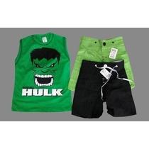 Camiseta E Bermuda Infantil Heróis Batman Hulk Homem Aranha