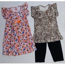 Lote 7 Conjuntos Feminino + 3 Vestidos Infantil Atacado T. 8
