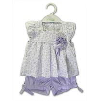 Conjunto Infantil Bata E Short Flores Lilás Anjos Baby