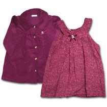 Conjunto Infantil Casaco E Vestido Em Veludo Vinho C/ Flore