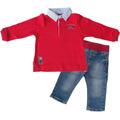 Camiseta Polo M/l Listrada E Calça Jeans Gira Baby