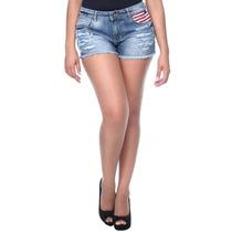 Shorts Jeans Feminino Sawary Aplicação Bordado Frete Gratis