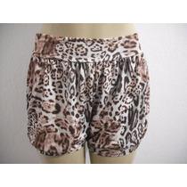 Shorts Feminino Estampa Oncinha Tecido Leve Tam M Bom Estado