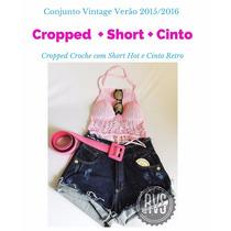 Conjunto,juju Panicatcropped + Short+ Cinto Perfeito!**