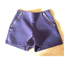 Shorts Azul Tecido Elastano C Zipers Zara Novo Com Etiqueta