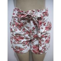 Shorts Cintura Alta Florido Tam P Ótimo Estado