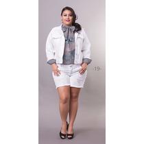 Short Jeans Branco Com Pérolas Plus Size