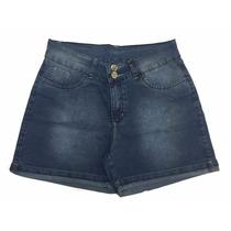 Short Feminino Jeans Com Elastano E Bolso Bordado Plus Size