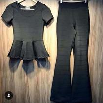 Conjunto Feminino Blusa Peplum + Calça Flare De Bandagem