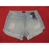 Shorts Jeans Feminino Boyfriend Barra Desfiada Destroyed
