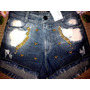 Shorts Feminino Hot Pants Detonado Destroyed Cintura Alta