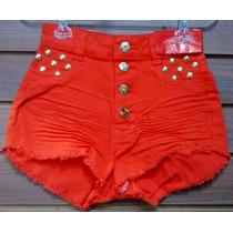 Short Jeans Hot Pant+cós Alto+colorido+desfiado+amassadinho.